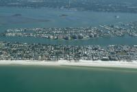 Aerial view of north Central Clearwater Beach, you can see Island estates in the back ground